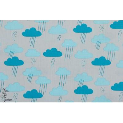 popeline bio cloud9 Sweet Autumn day nuage bleu gris patch plaid