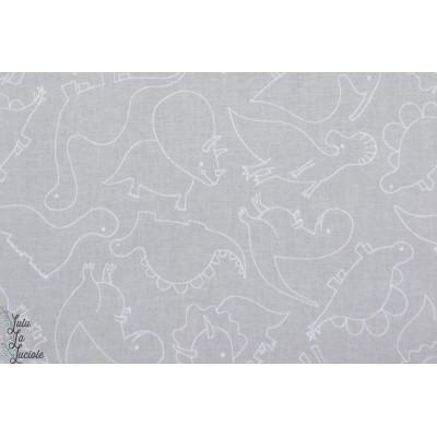 Popeline coton  Dinosaure en gris dessin enfant couture garçon