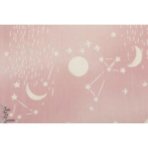 Double Gaze coton Moon and Stars rose Kokka  lune étoile ciel
