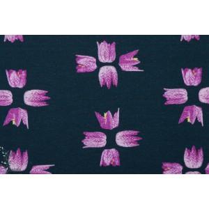Summerjersey Fritillaria Lillestoff jersey bio fleur graphique bleu rose