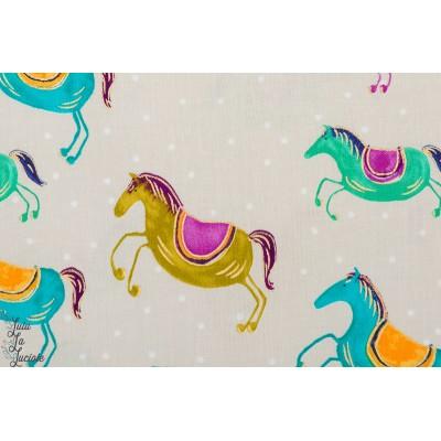 Popeline Spirit riders sand Michael Miller chevaux sable animaux dream catcher