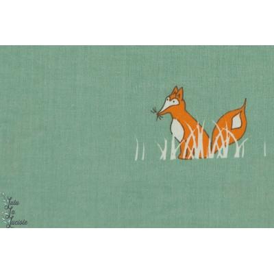 Popeline renard BIRCH SLY FOX coton plaid patch nature fox animaux enfant