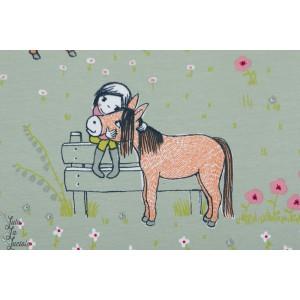 Jersey Bio Ponneyliebe Lillestoff amour cheval ponney susalabim couture fille
