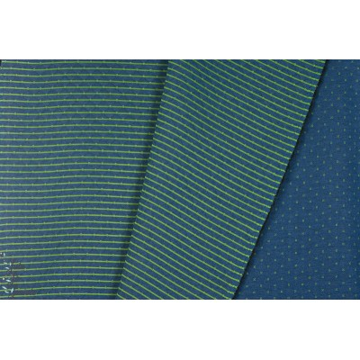 Sweat Matelassé Quilt Double Face bleu - vert croix rayure