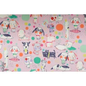 Popeline Puppy Polka Dot rose - Chiens - Alexander Henry