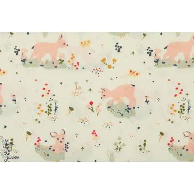 Popeline Bio Birch Little Deer petite biche faon coton birch fabric
