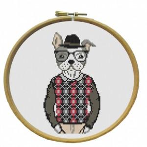 Kit Broderie Hector Le chien point de croix marie coeur