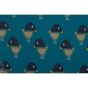 Jacquard oisillon bleu brinarina oiseau maille bleu graphique
