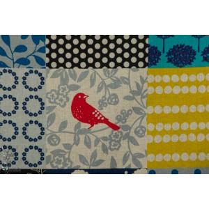 Echino Story bleu moutarde Kokka oiseau patch canvas toile