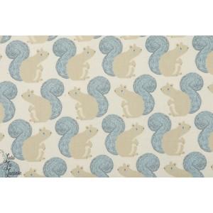 Popeline Cotton&Steel Squirrels Neutre écureuil graphique joue rose fluo