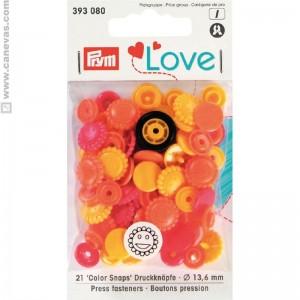 Bouton pression love Prym fleur jaune, orange,rouge prym love vario