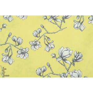 Popeline AGF Magnolia Study Zest jaune fleur art gallery jaune