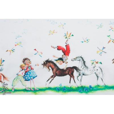 Popeline Inkalily double bordure cheval enfant