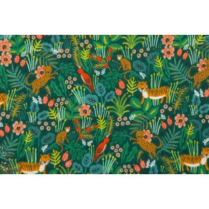 Popeline jungle hunter Cotton Steel   animaux tigre vert enfant menagerie rifle paper