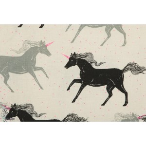 Popeline Unicorn en noir Cotton steel magic forest licorne