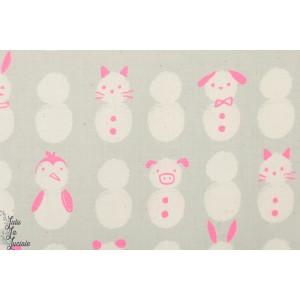 Popeline Cotton Steel Snow Baby Neo bonhomme de neige fluo rose graphique