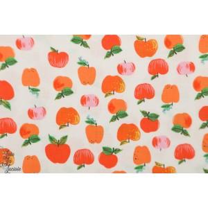 Popeline kinder Windham pommes orange enfant graphique fruit