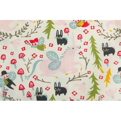Popeline Bio Enchanted Unicorn in cream - Birch fabric licorne pays enchanté