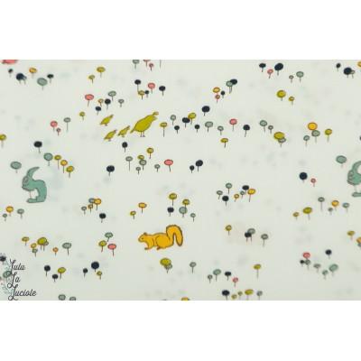 Popeline Bio Birch meadow run graphique animaux bébé petit enfant