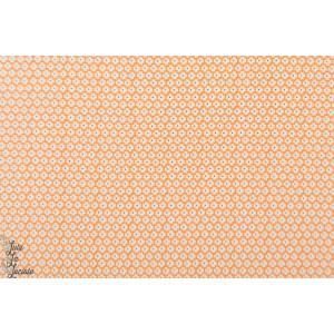 Popeline Windham Vacation petite fleur rétro orange grahique
