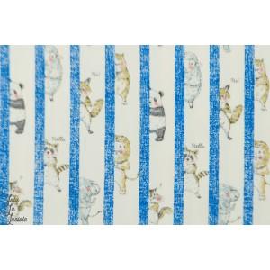 coton oxford Cache cache d'animaux Bleu par kokka