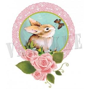 Appliqué Lapin rose 6*8cm rétro vintage