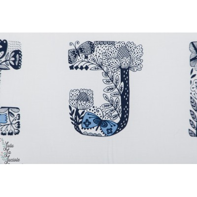 Popeline Lettered indigo Robert kaufman alphabet colorier fleur animaux bleu