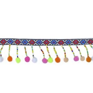 Galon de perle et pompons colorés