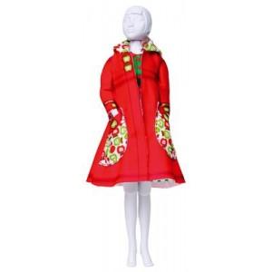 """Kit Dress your Doll ''Fanny apples"""" poupée barbie habit manteau rétro rouge"""