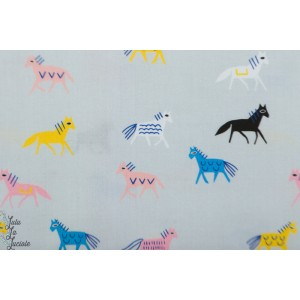 Popeline Bio Cloud9 - Horses chevaux no place like home