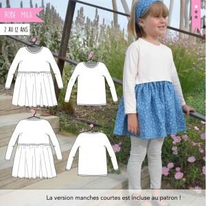 Patron Robe et T-shirt Mila 7 au 12 patron couture fille super bison