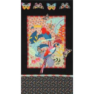 Panneau Alexandre Henry Rio en noir bordure noir tropique péroquet
