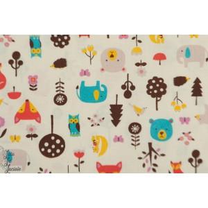 Coton oxford  Foxes bears and trees par Kokka renard arbre et ours enfant forêt