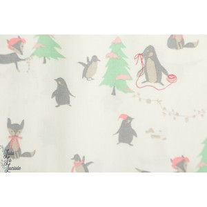 Popeline Winter tales Foxes and Pinguoin