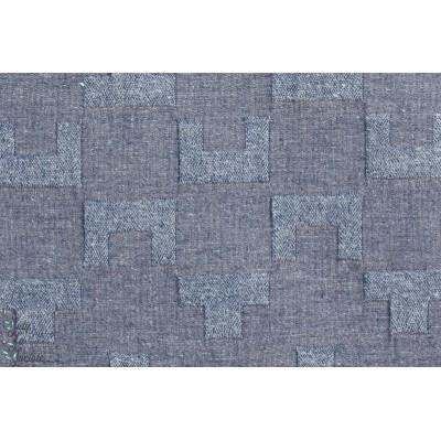 Tissu japonais, idéal pour veste ou manteau DOBBY en Bleu par Kokka