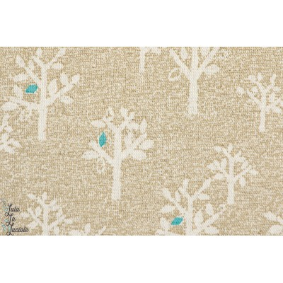 Tissu japonais Arbre sur fond Beige par Kokka