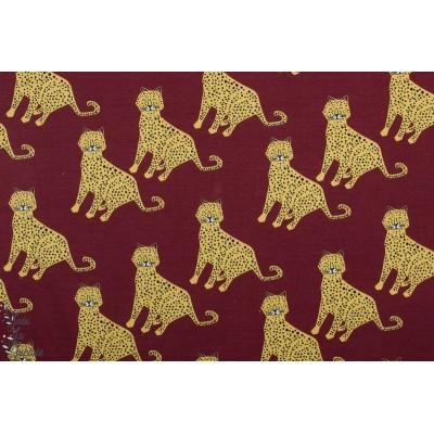 Jersey Bio Elvelyckan Leopard Wine  leopard animaux rouge graphique enfant