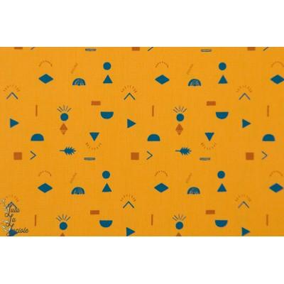 Tissu popeline Prehistoric kombi Katia Fabrics jaune moutarde graphique