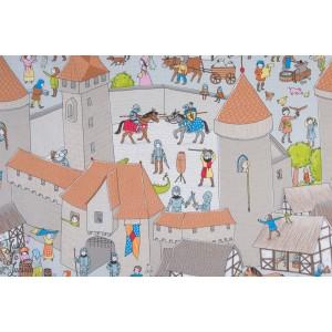 Jersey bio Ritterwelt SUSAlabim Lilestoff ''le monde des chevaliers''