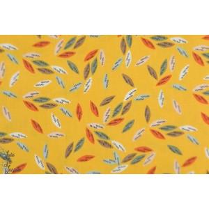 Popeline Leaves Moutarde EMI1406 - EMI & BIRD Dashwood Studio feuille