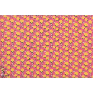 Popeline Blend  Haruko Pink - Floral Pets graphique fruit fleur rose