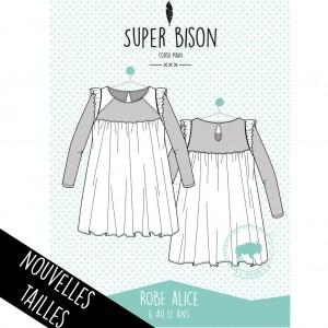 PATRON couture robe enfant SUPER BISON ALICE 6ans à 12 ans