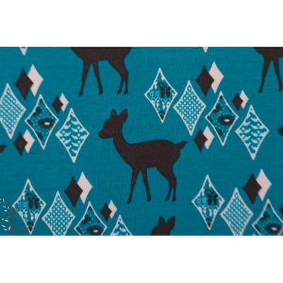 Jersey Od Deer biche bambi graphique bleu pétrole