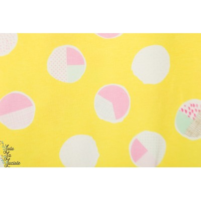 jersey AGF Sugar jaune wonderful art gallery fabric jaune bulle graphqiue