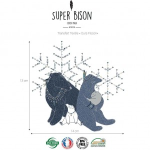 thermocolant, couture, personalisation,customisation, enfant, Transfert SUPER BISON Ours flocon