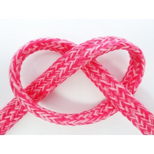 Cordon capuche plat chiné rose au mètre