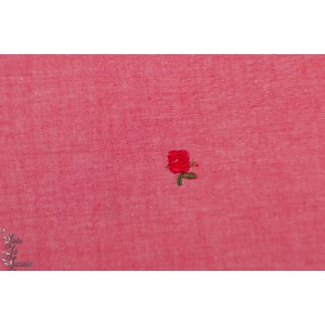Popeline brodée rose rouge