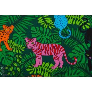 Jersey  Jungle Cats green Vintage in my heartfelion animaux retro tigre lion