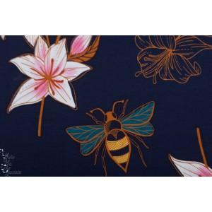 jersey Bio Glow Lily Bleu ALB Stoffe Hamburger Liebe abeille fleur mode femme