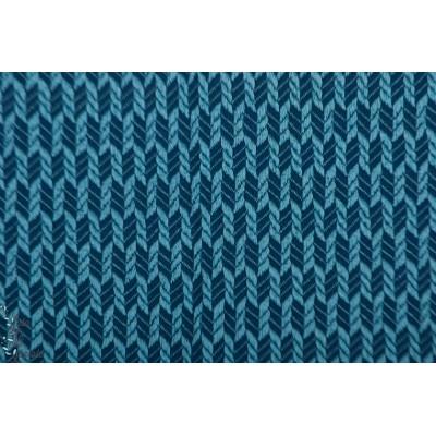 jacquard Bio ALB Wanderlust grain knit bleu Hamburger Liebe graphique